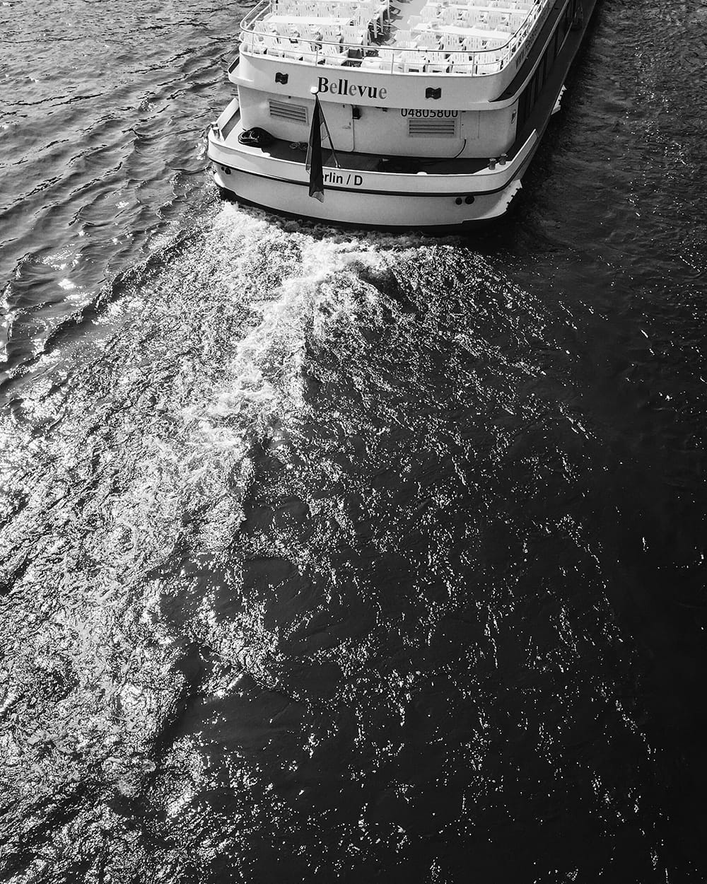 A back of the ferry on a river. Berlin
