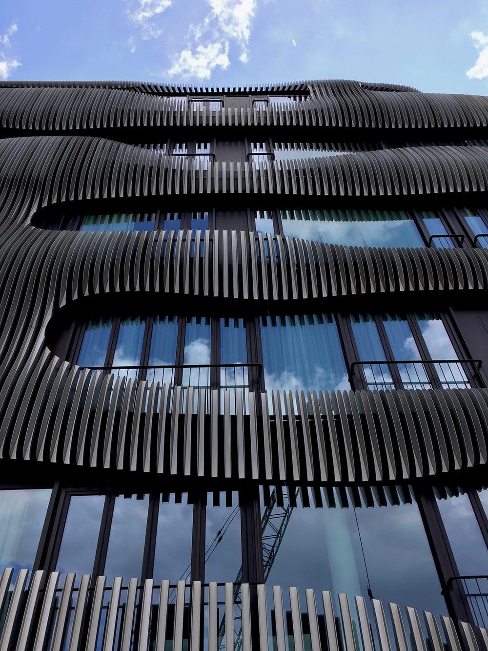 A modern building with wavy facade. Berlin