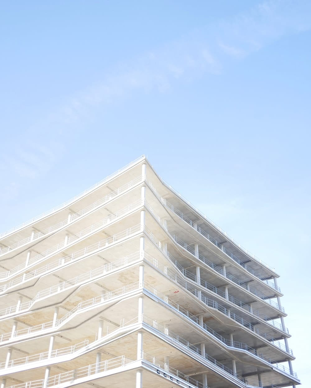 Minimalistic structure of a construction on a sunny day. Berlin