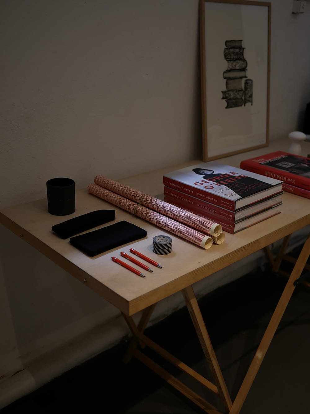 A display table with stationery arranged in red-colored theme. Copenhagen