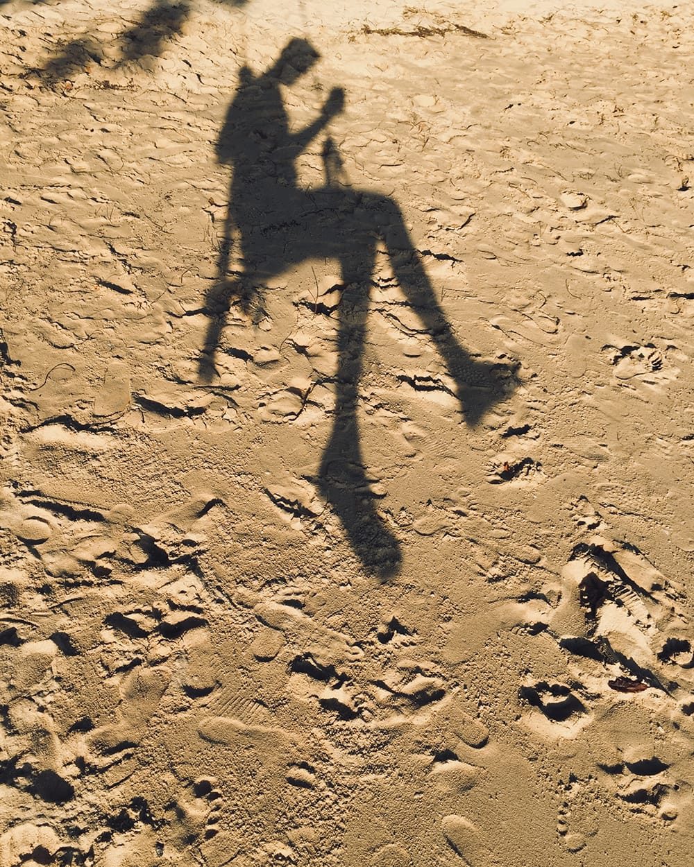 Shadow of a man swinging on a beach. Koh Phi Phi
