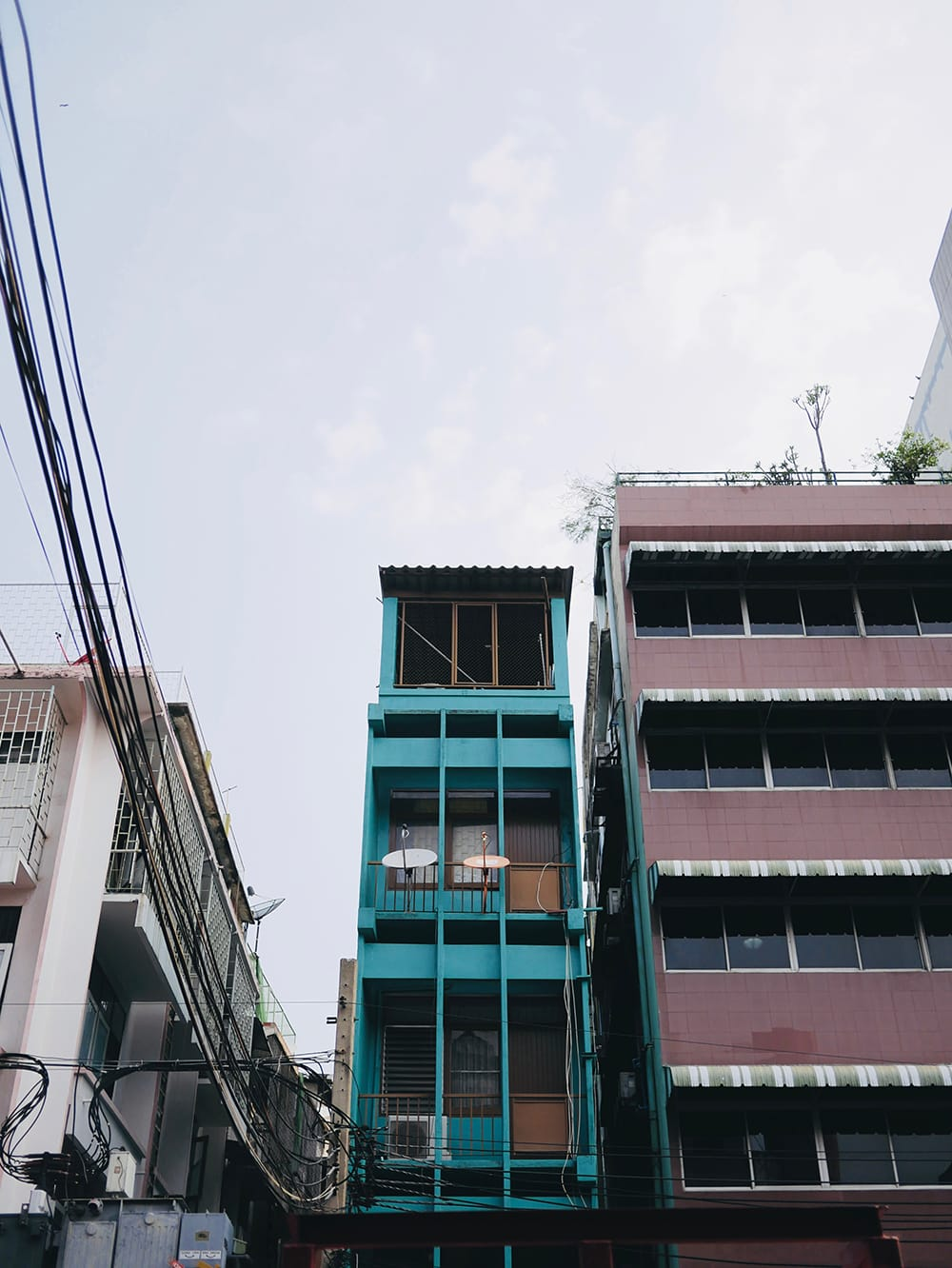 A very narrow block of flats. Bangkok