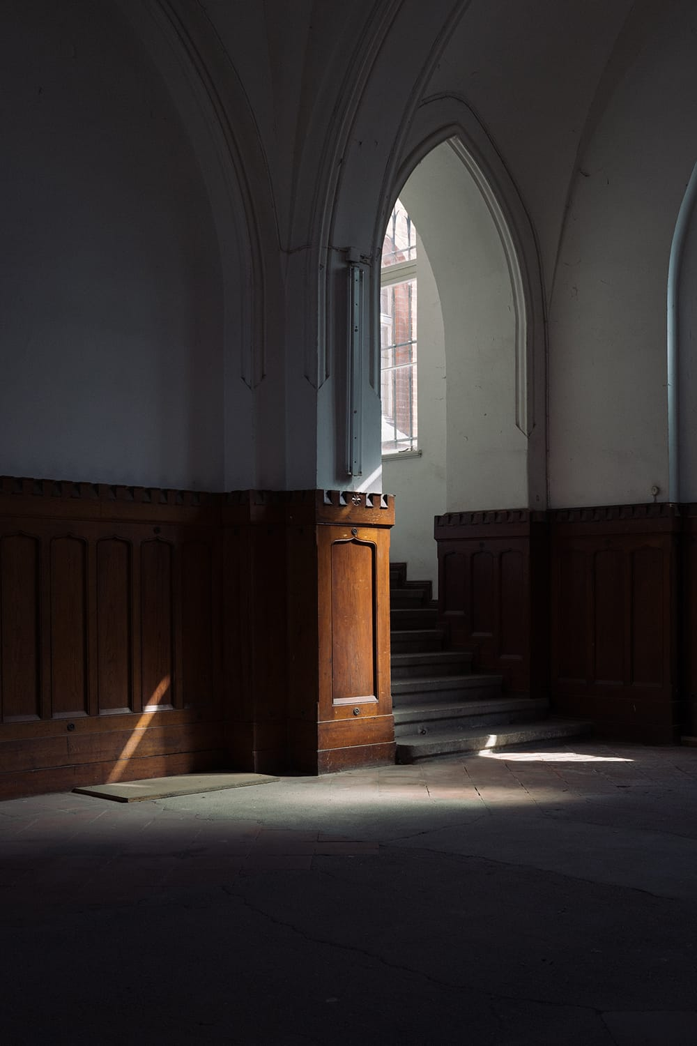 Dark, dramatic entrance to a chamber with a few rays of lights. Frankfurt Oder